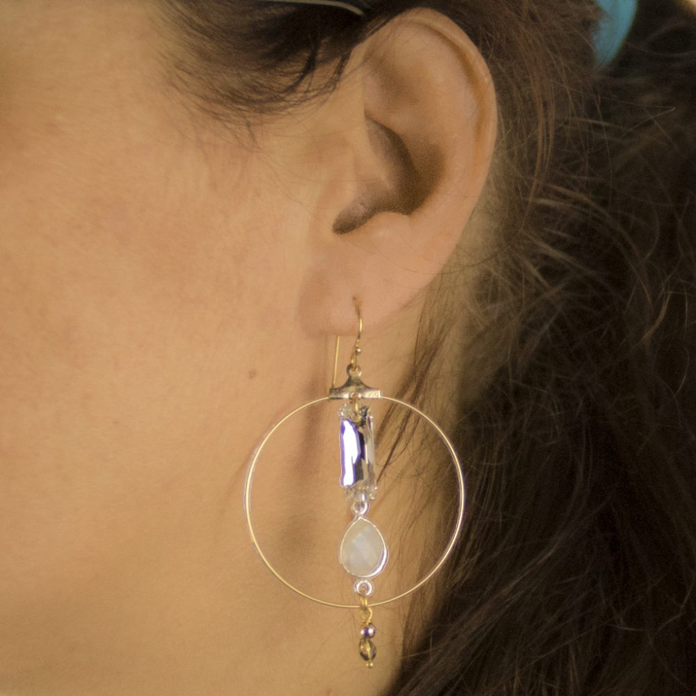 Boucles d 39 oreille scarlett blanches plaqu or rose bijoux haute fantaisie - Poussette de boucle d oreille ...