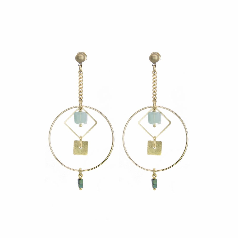 boucles bleu, boucles argent, bijoux, bijoux fantaisie