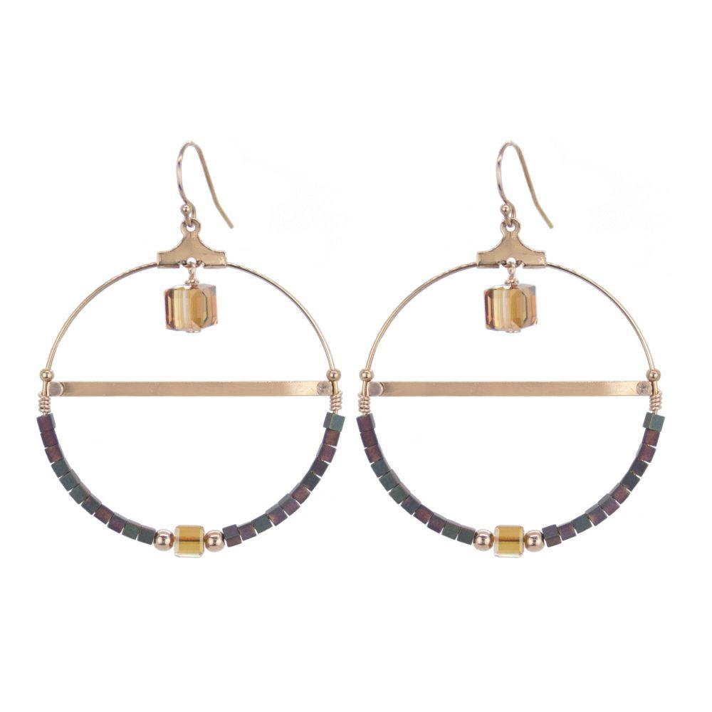 Boucles d'oreille Charlie Copper plaqué or rose, bijoux fantaisie, bijoux swarovski, bijoux tendance,