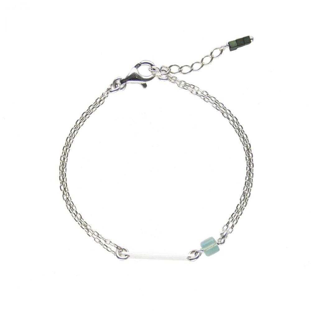bracelet fin louise pacific bleu en argent 925 et cristal de swarovski. Black Bedroom Furniture Sets. Home Design Ideas