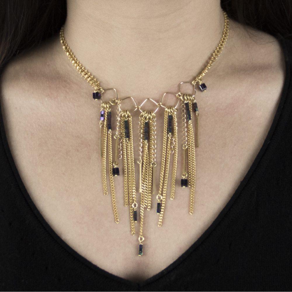 collier jade purple dor or fin 24 carats cristal swarovski bijoux fantaisie. Black Bedroom Furniture Sets. Home Design Ideas