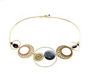 Bijoux fantaisie Collier or Talisman noir doré à l'or fin 24 carats
