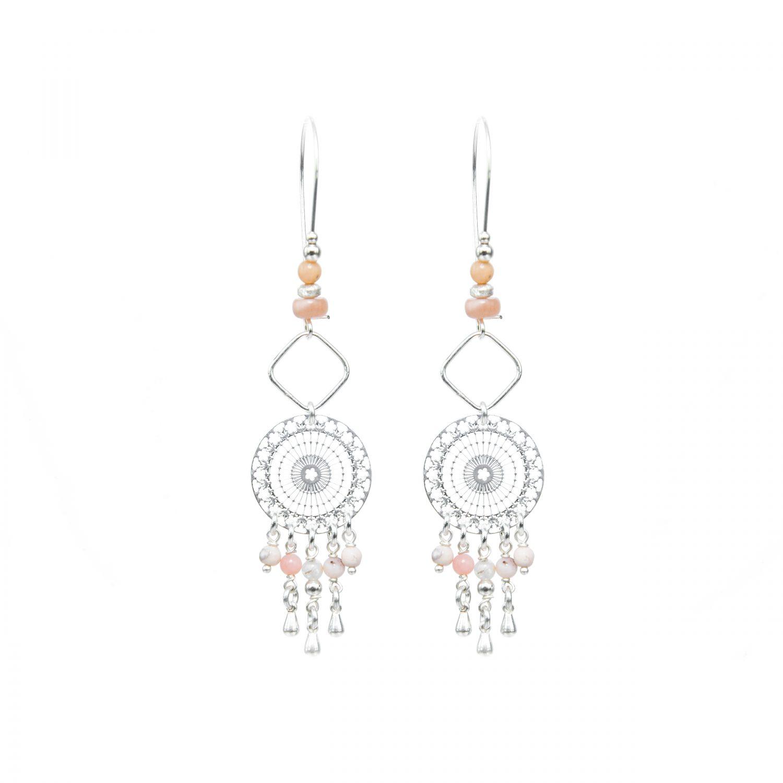 Boucles d'oreille Lana roses argent 9.5 cm, bijoux fantaisie, bijoux de créateur, made in france, Antibes juan les pins