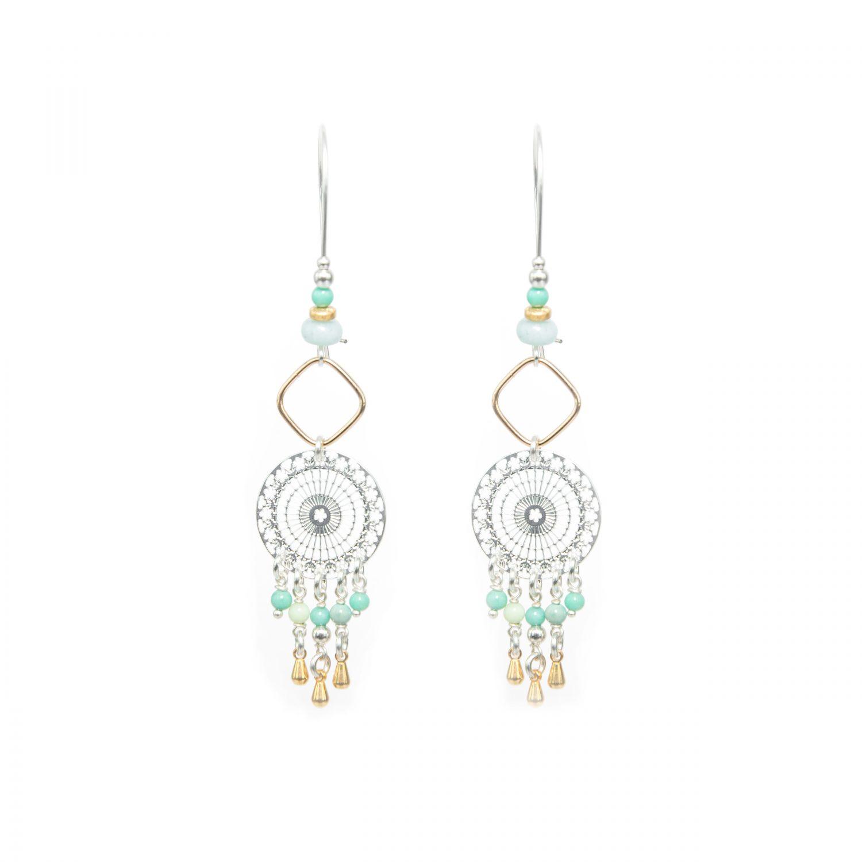 Boucles d'oreille Lana bleues or argent, bijoux haute fantaisie, bijoux fantaisie, créateur de bijoux, bijoux, Antibes, Juan les pins, handmade creation