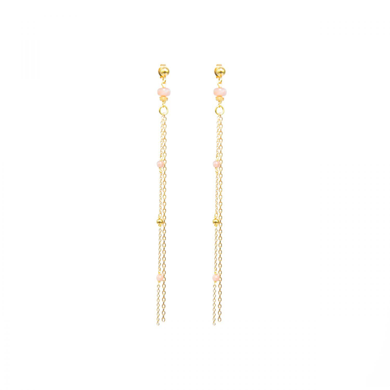 Boucles d'oreille Alisée roses plaqué or, bijoux or, bijoux de créateur, bijoux, made in France, Antibes, Juan les Pins