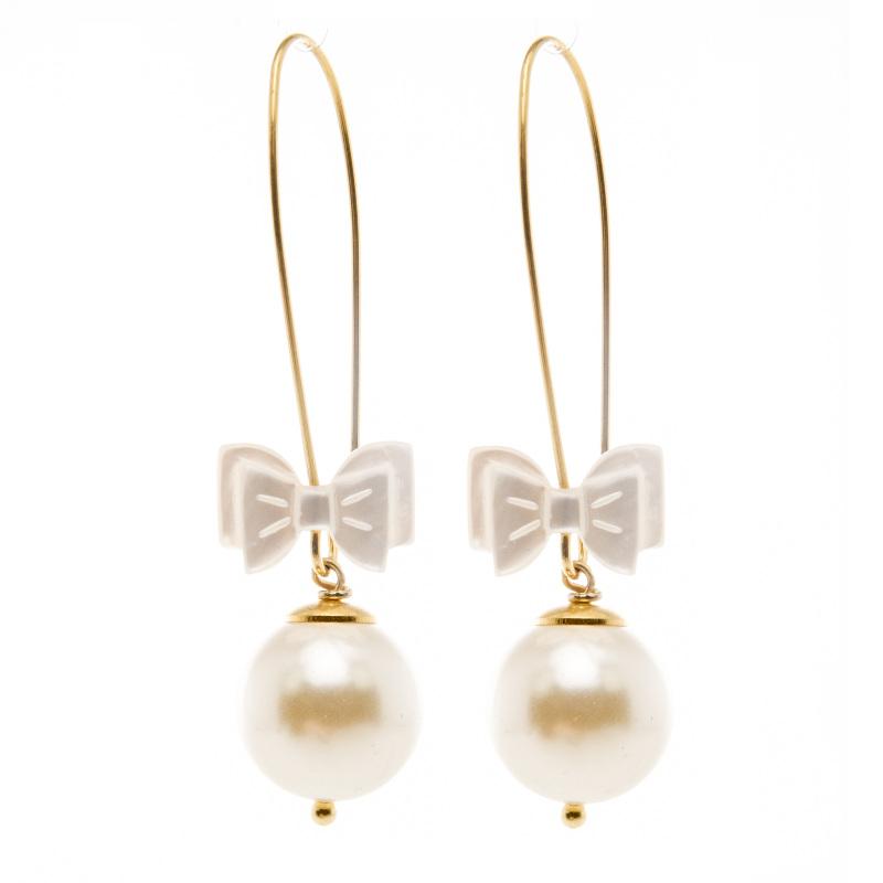 Boucles d'oreille Annabelle blanches, boucles d'oreille, bijoux fantaisie, créatrice de bijoux, made in France, Antibes, Juan les pins