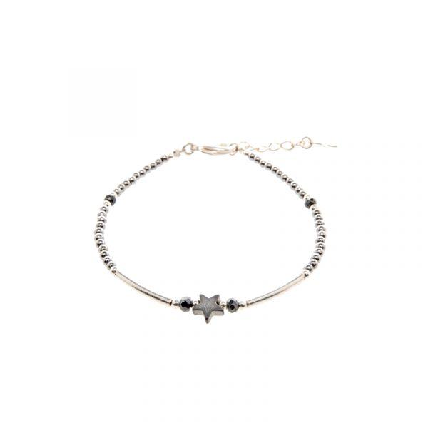 Bracelet Draconis gris argent, bracelet, bracelet argent, bijoux haute fantaisie, bijoux fantaisie, made in France, Antibes, Juan les pins