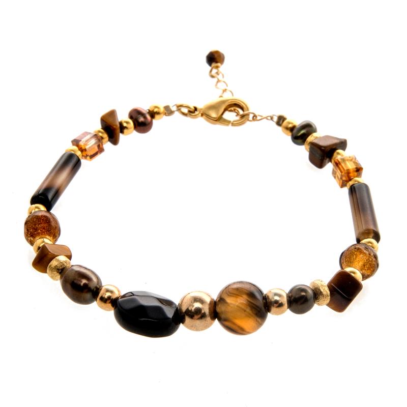 bracelet, Bracelet Vénus Agate marron plaqué or, bijoux fantaisie, créateur de bijoux, made in France, Antibes, Juan les pins