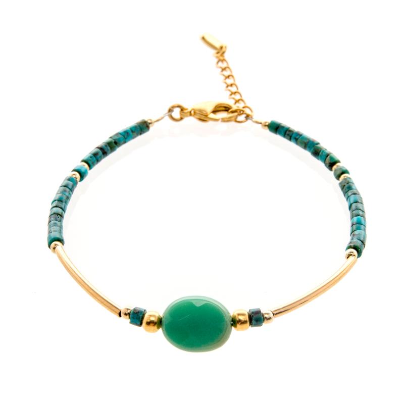 bracelet, Bracelet Saturne turquoise plaqué or, bijoux fantaisie, créateur de bijoux, turquoise, made in France, Antibes, Juan les pins