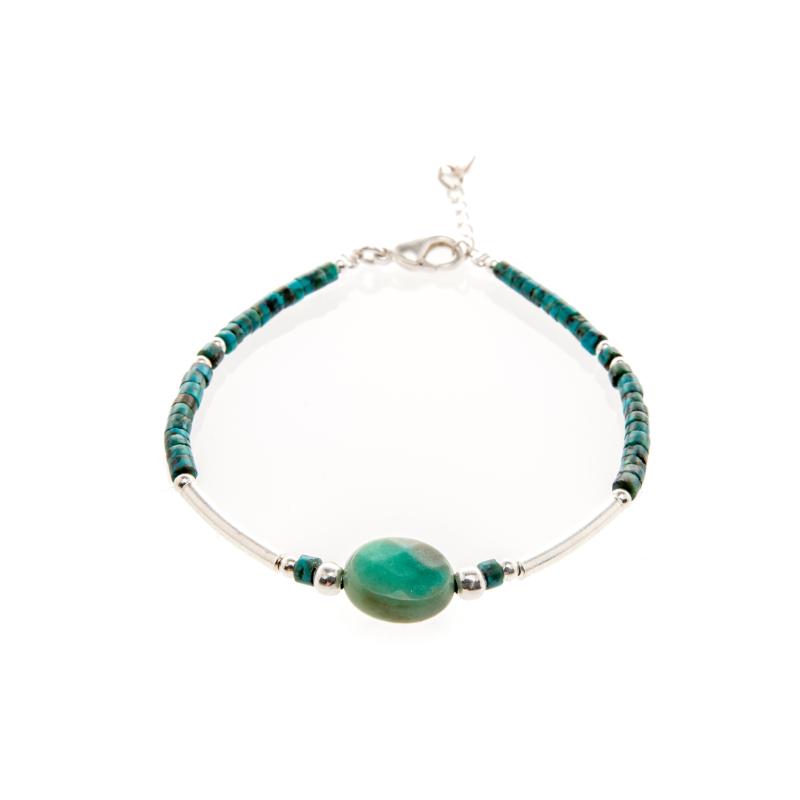 Bracelet Saturne turquoise argent: bijoux fantaisie, bijoux argent, made in France, Antibes, Juan les pins
