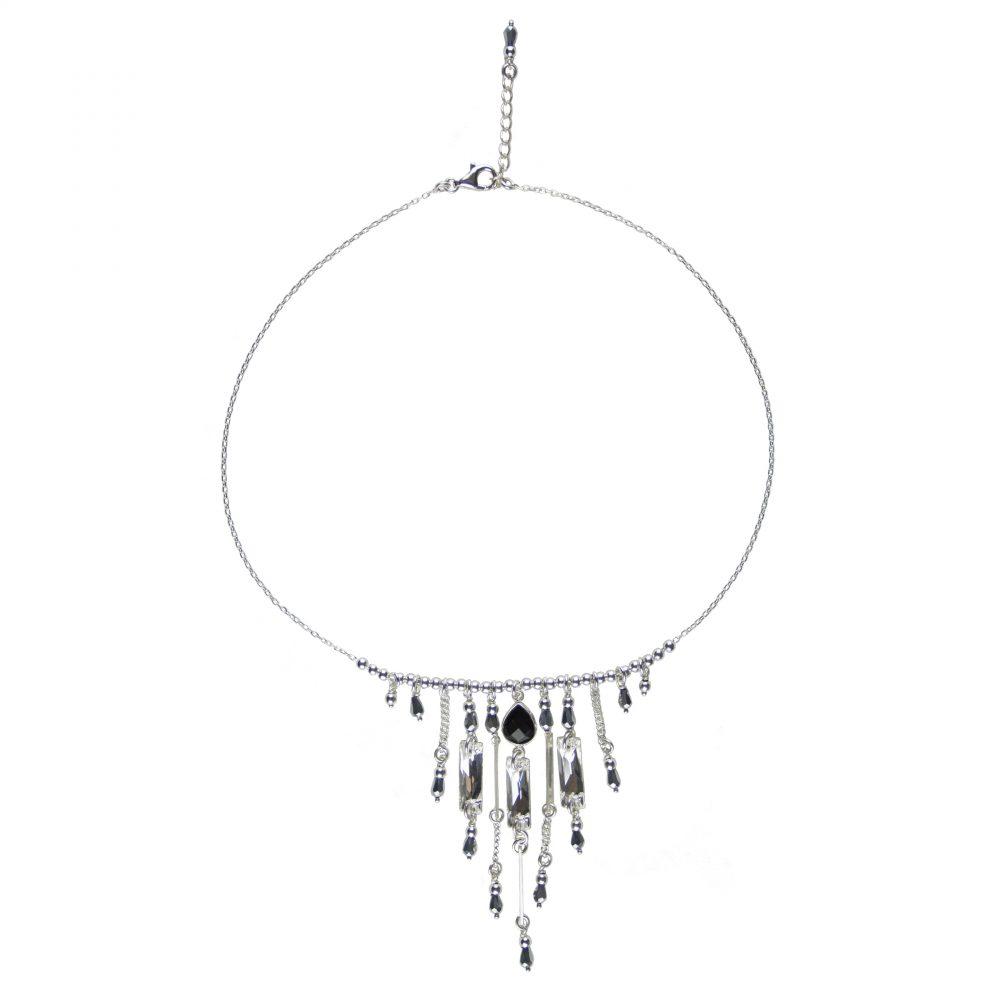 Collier Scarlett noir argent, collier argent, bijoux haute fantaisie, créateur de bijoux, made in France, Antibes, Juan les pins