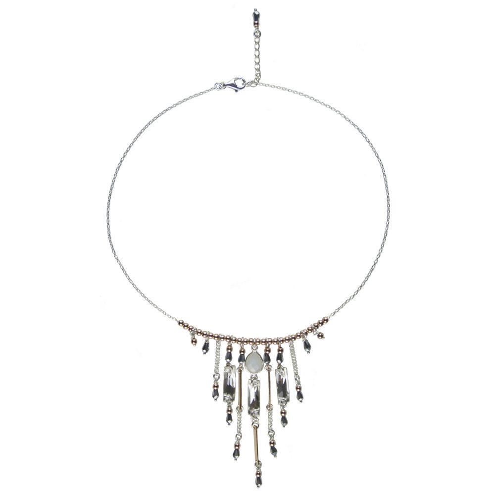 Collier Scarlett Blanc Argent, collier argent, bijoux fantaisie, bijoux haute fantaisie, créateur de bijoux, made in France, Antibes, juan les pins