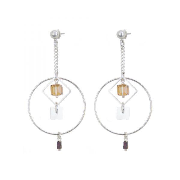 Boucles d'oreille Camille Copper argent, boucles d'oreille, boucle argent, bijoux argent, bijoux de créateur, bijoux fantaisie, bijoux haute fantaisie