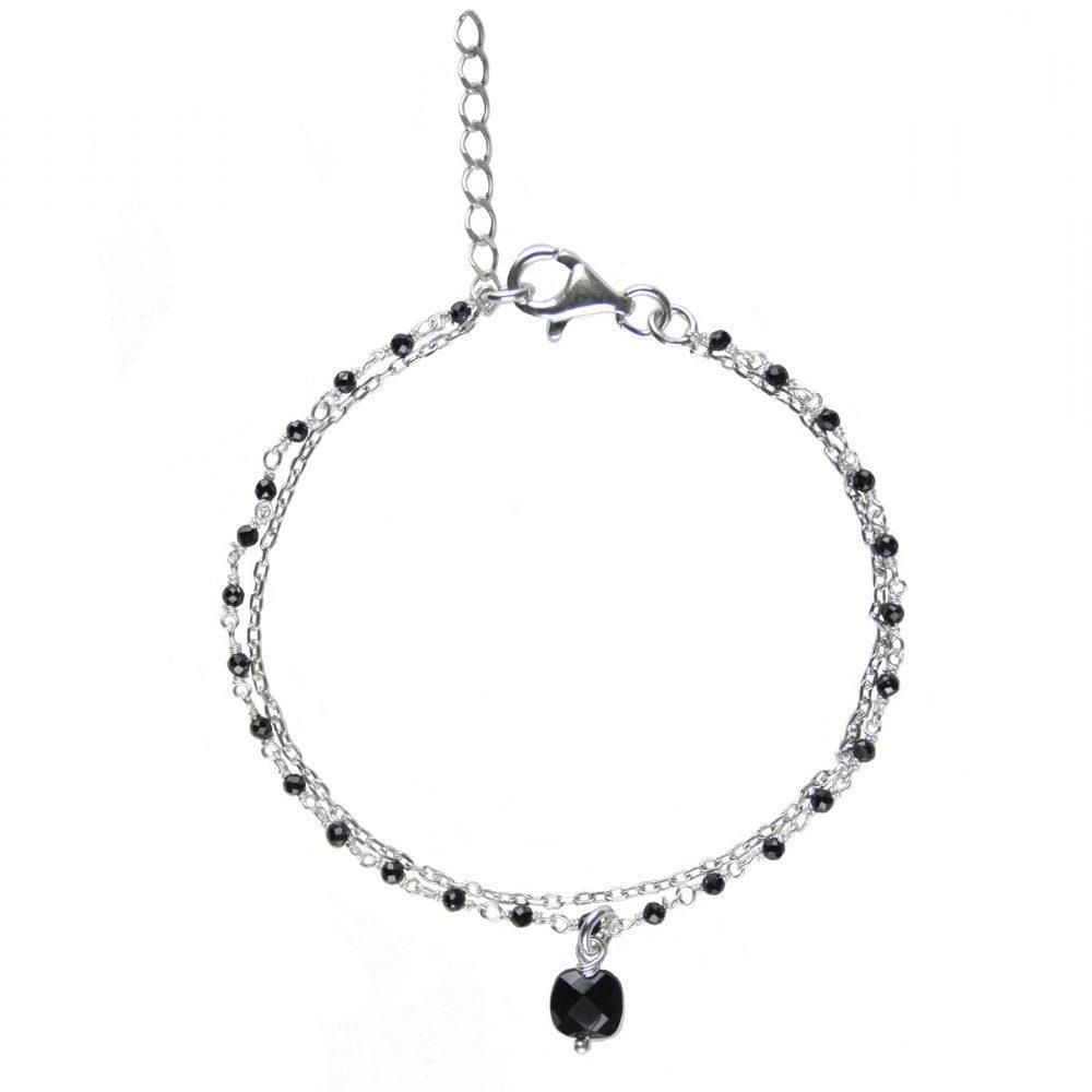 Bracelet Nell Onyx argent, Bijoux argent, bijoux haute fantaisie, bijoux fantaisie