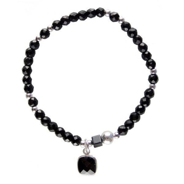 Bracelet Nina Onyx noir argent, bracelet argent, bijoux haute fantaisie, bijoux de créateur, made in france, Antibes, Juan les pins