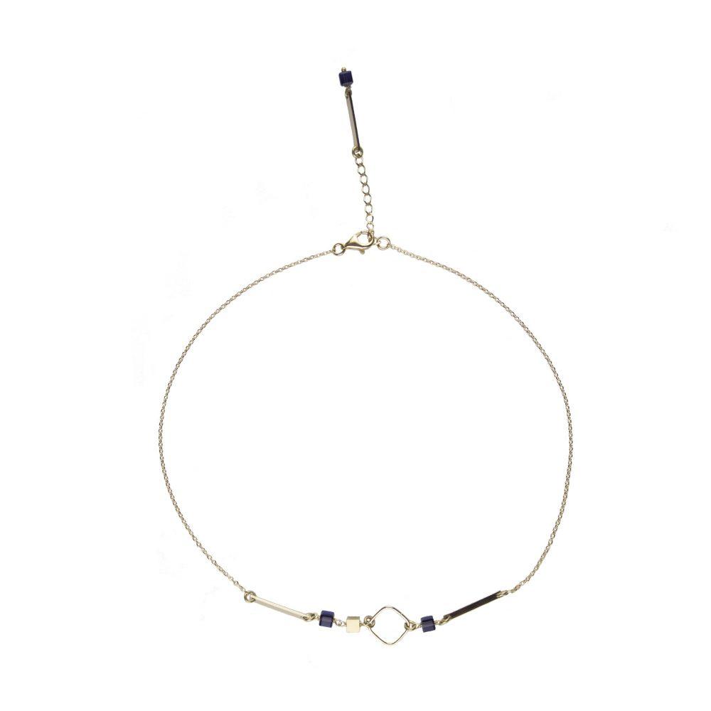 Collier Louise Purple plaqué or ~ 39 cm, bijoux plaqué or, collier plaqué or, bijoux fantaisie, bijoux, bijoux haute fantaisie