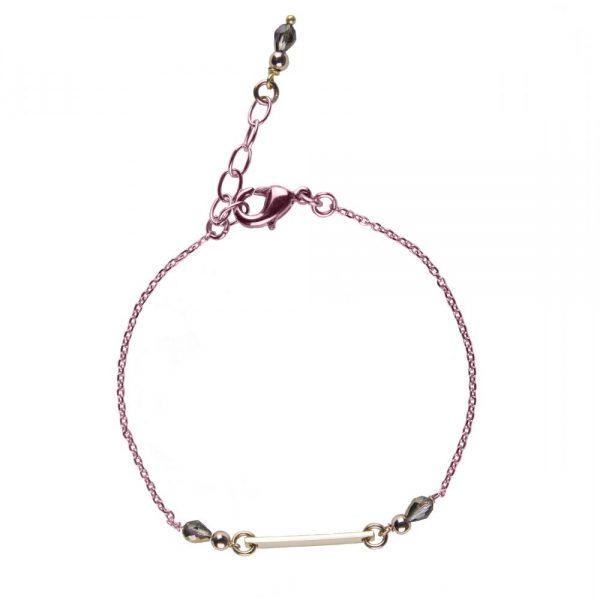 bracelet, Bracelet Mila doré plaqué or rose, bijoux fantaisie, créateur de bijoux, made in France, Antibes, Juan les pins