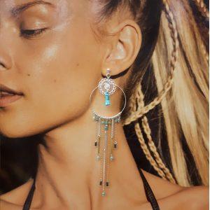 Bijoux Haute fantaisie, Boucles d'oreille XXL Mélanie bleues argent, boucles d'oreille, bijoux fantaisie, bijoux haute fantaisie, made in france, Antibes, Juan les pins