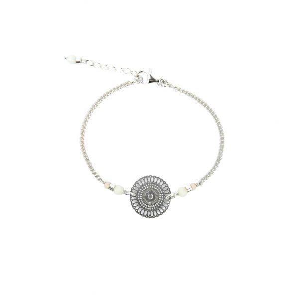 Bracelet Chizue blanc argent, bracelet argent, bijoux fantaisie, créations artisanales, handmade, fait main, made in France, Antibes , Juan les pins