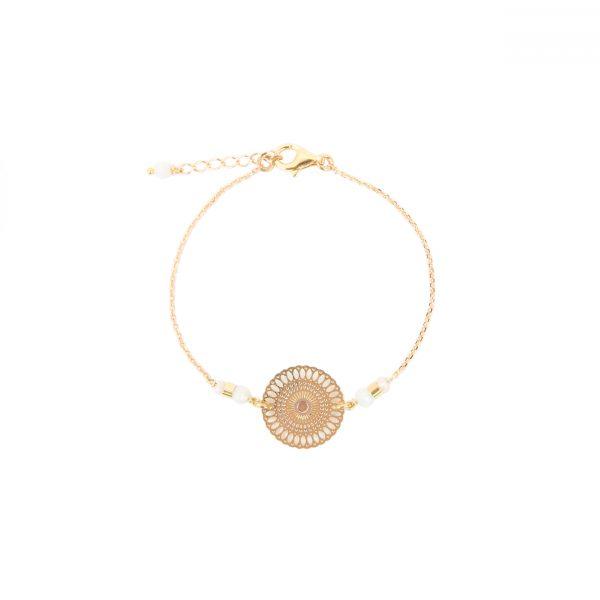 Bracelet Chizue blanc plaqué or, bracelet or, bijoux haute fantaisie, bijoux de créateur, handmade, made in France, Antibes, Juan les pins