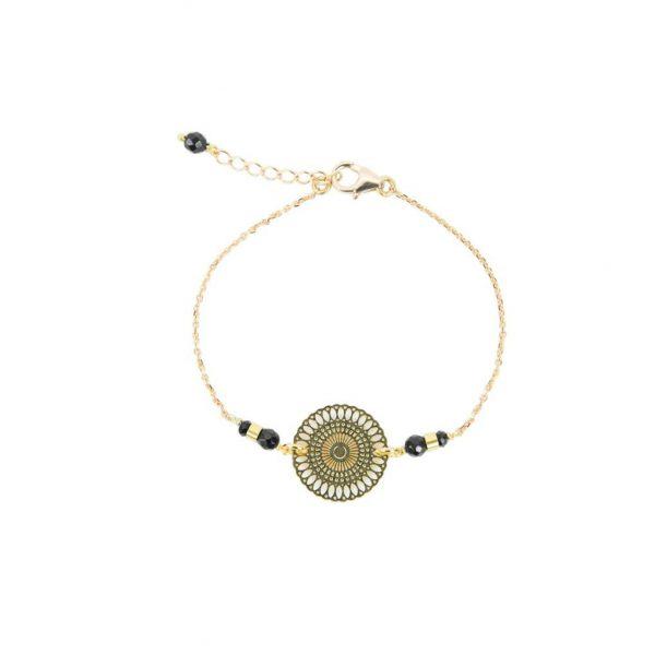 Bracelet Chizue noir plaqué or, bracelet or, bijoux haute fantaisie, bijoux de créateur, créations artisanales françaises, Antibes Juan les pins