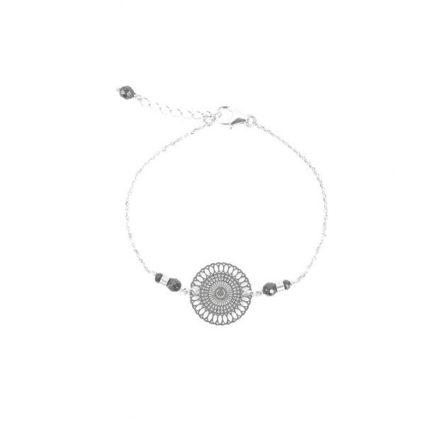 Bracelet Chizue noir argent, bijoux argent, bijoux fantaisie, création artisanales, made in France, handmade, fait main, Antibes, Juan les pins