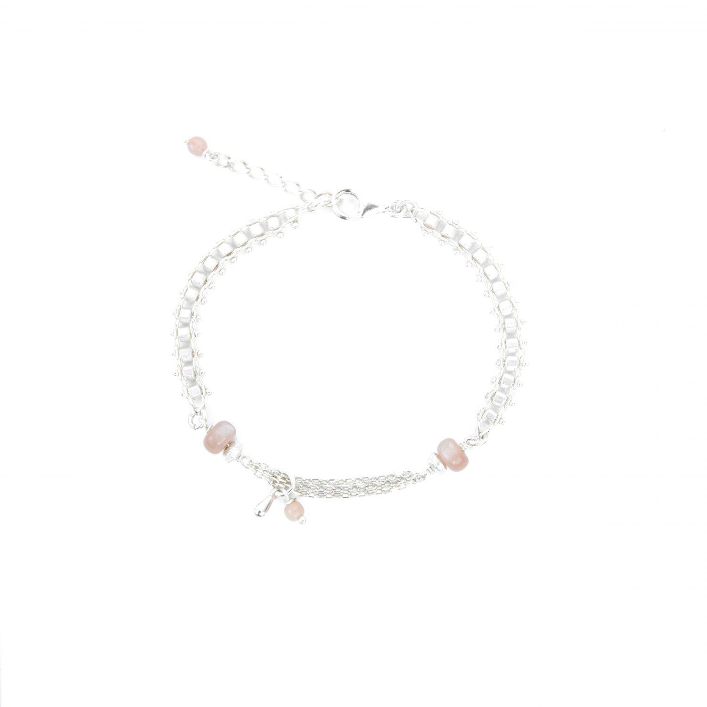 Bracelet Joanna rose argent 16.5 cm, bracelet, bijoux fantaisie, fait main, bijoux de créateur, made in France, juan les pins, Antibes