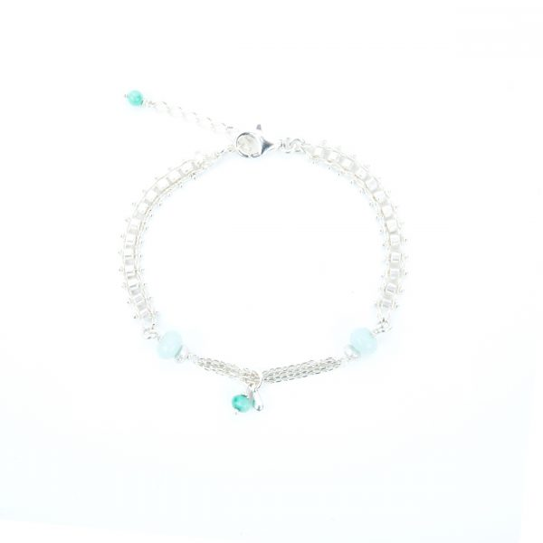 Bracelet Joanna bleu argent 16.5 cm, bracelet, bijoux fantaisie, fait main, bijoux de créateur, made in France, juan les pins, Antibes