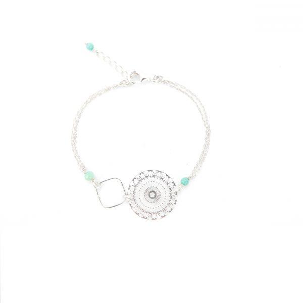 Bracelet Lana bleu argent 16.5 cm, bijoux haute fantaisie, bijoux de créateur, Antibes Juan les Pins, made in France, handmade creation, métier d'art, créations artisanales françaises