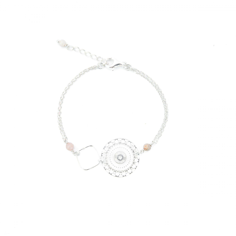 Bracelet Lana rose argent 16.5 cm, bijoux argent, bijoux fantaisie, handmade creation, création artisanales Antibes, Juan les pins