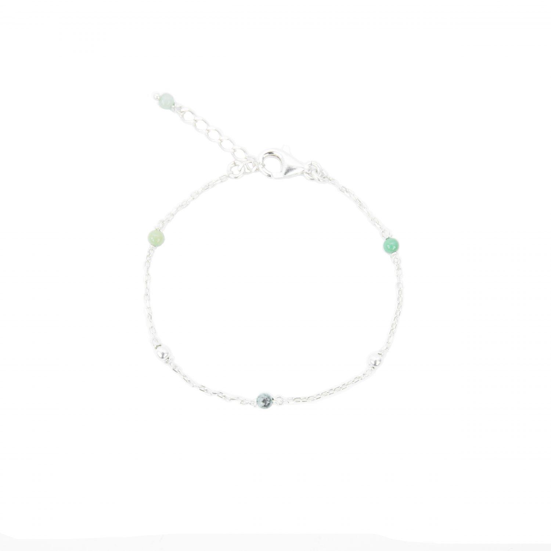 Bracelet Alisée bleu argent 16.5 cm, bracelet, bijoux fantaisie, création artisanales françaises, bijoux de créateur, juan les pins