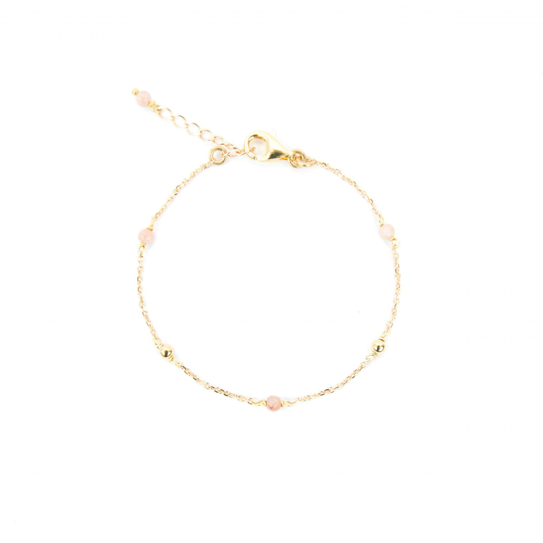 Bracelet Alisée rose plaqué or 16.5 cm, bracelet, bijoux plaqué or, bijoux fantaisie, fait main, made in France, juan les pins
