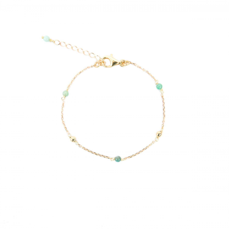 Bracelet Alisée bleu plaqué or, bracelet bleu, bijoux fantaisie, création artisanales françaises, juan les pins