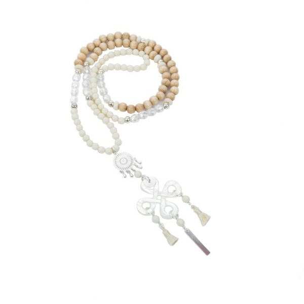 Sautoir Chizue blanc argent 70 cm, sautoir, bijoux fantaisie, bijoux haute fantaisie, bijoux japonais, créations artisanales, Antibes Juan les pins