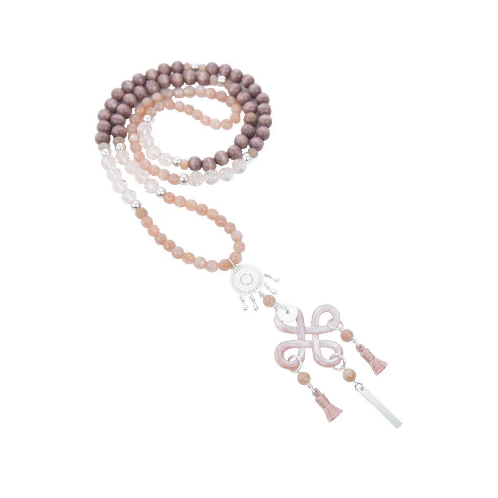 Sautoir Chizue rose argent 70 cm, sautoir argent, bijoux haute fantaisie, bijoux de créateur, création artisanales, made in France, antibes, Juan les pins
