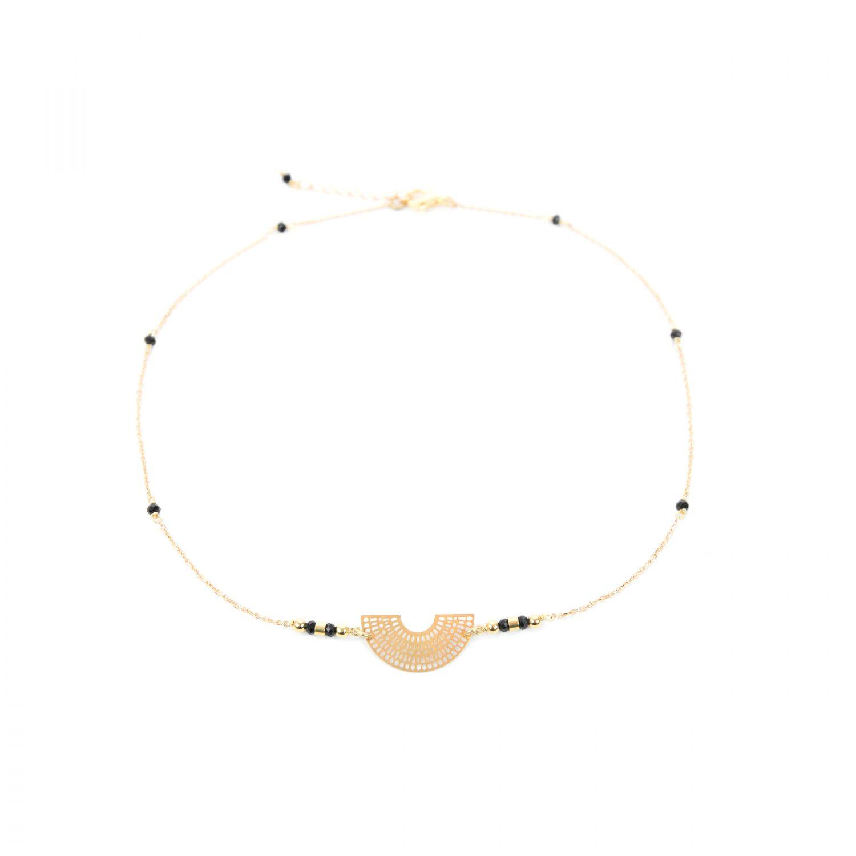 Collier fin Aiko noir plaqué or, ras du cou, bijoux fantaisie, création artisanales française, french creation, Antibes Juan les Pins