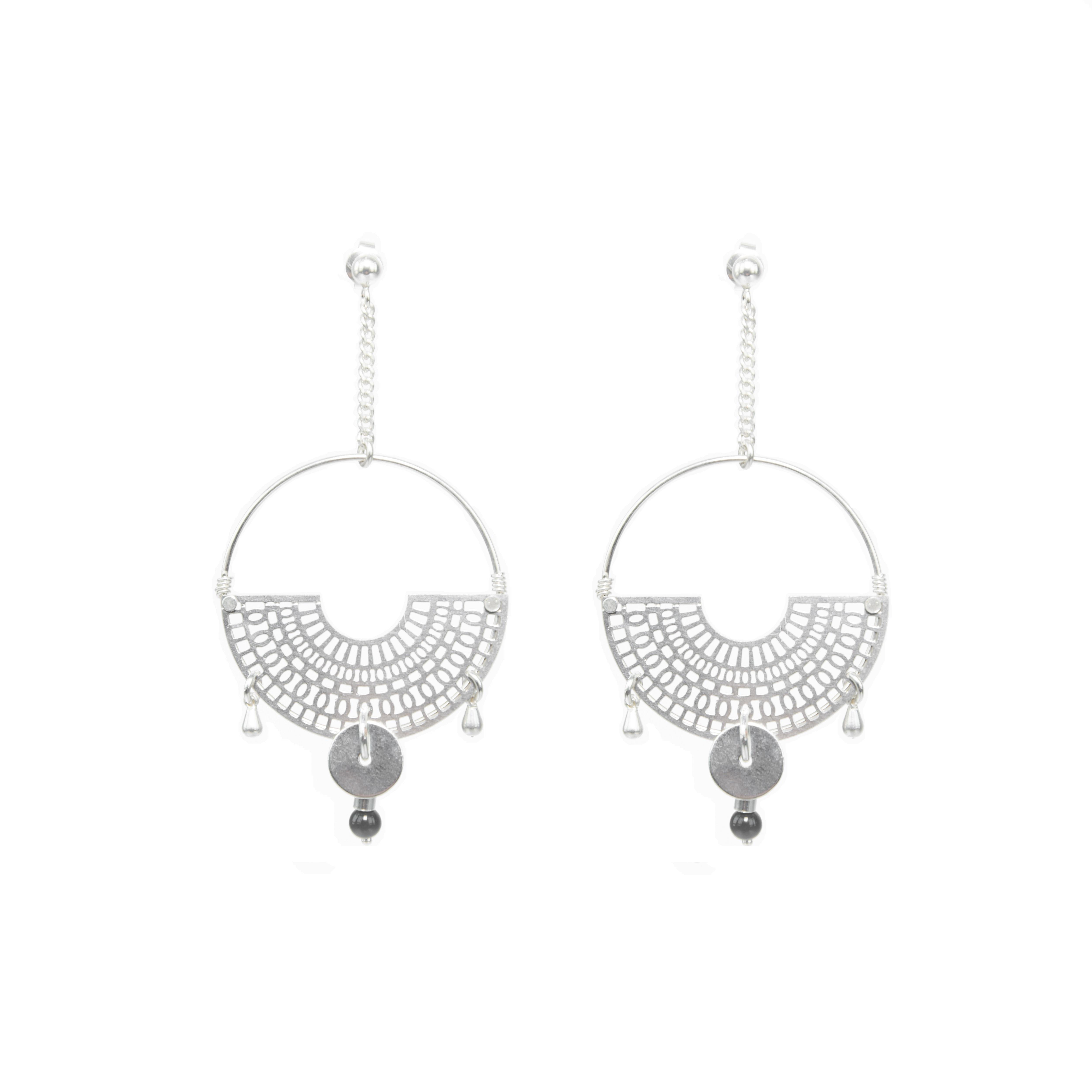 Boucles d'oreille Miyu noires argent, boucles d'oreille argent, bijoux argent, créations artisanales, Antibes, Juan les pins