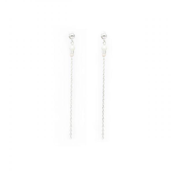 Boucles d'oreille Eika blanches argent 7.5 cm, boucles d'oreille argent, bijoux fantaisie, création artisanale, Antibes, Juan les pins