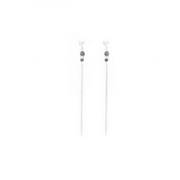 Boucles d'oreille Eika noires argent, boucles d'oreille argent, B.O, créations artisanales, Antibes, Juan les pins