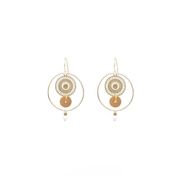 Boucles d'oreille Kyo blanches or, boucles d'oreille plaqué or, bijoux haute fantaisie, bijoux de créateur, Antibes Juan les Pins