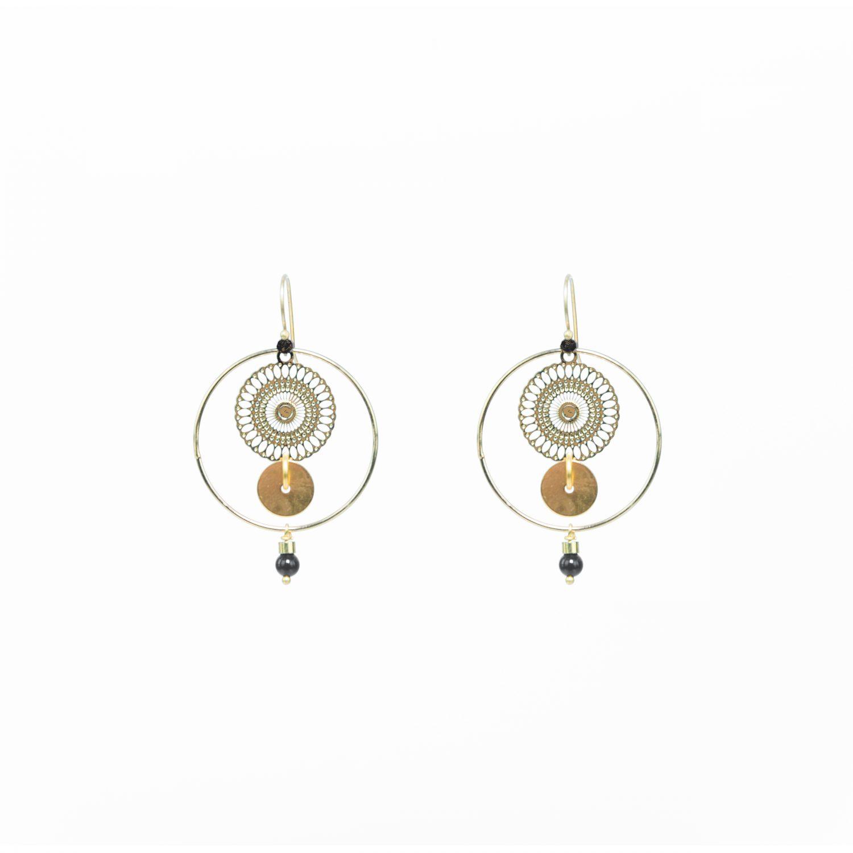 Boucles d'oreille Kyo noires or, bijoux or, bijoux fantaisie, création artisanales, Antibes, Juan les pins