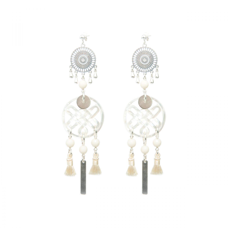 Boucles d'oreille Chizue XXL blanches argent, bijoux argent, boucles d'oreille argent, bijoux haute fantaisie, bijoux faiit main, Antibes, Juan les pins