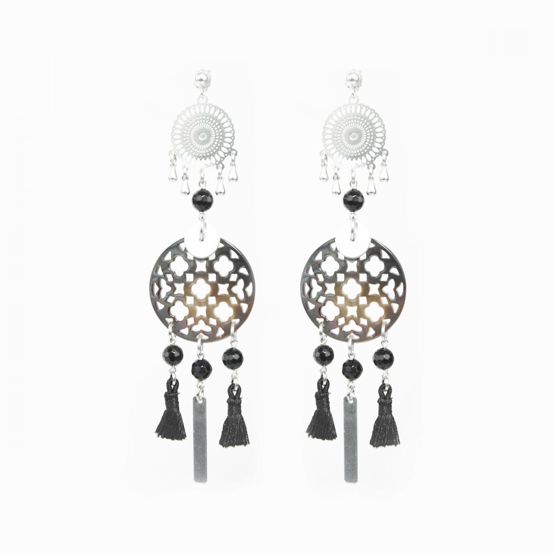 Boucles d'oreille Chizue XXL noires argent, bijoux haute fantaisie, bijoux de créateur, made in France, handmade, Antibes Juna les pins