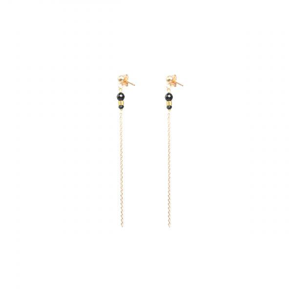 Boucles d'oreille Eika noires plaqué or, boucles d'oreille plaqué or , bijoux fantaisie, bijoux de créateur, made in france, Antibes, Juan les pins