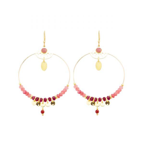 Boucles d'oreille shiva rouge, bijoux fantaisie, bijoux de créateur, bijoux haute fantaisie, made in France, boucles d'oreille