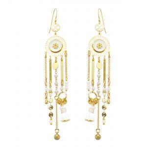 Boucles d'oreille Nichiren blanches plaqué or, bijoux fantaisie, bijoux de créateur, made in France
