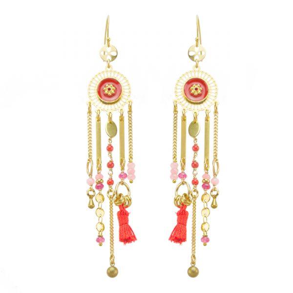 Boucles d'oreille Nichiren rouges, bijoux fantaisie, bijoux de créateur, made in France
