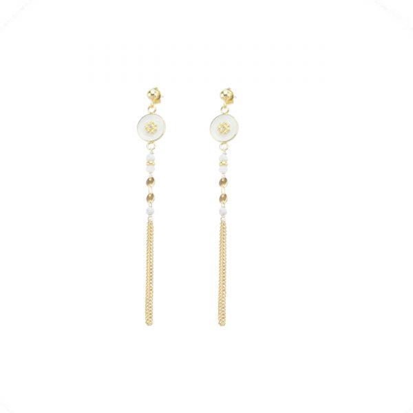 Boucles d'oreille Tara blanches, bijoux fantaisie, bijoux de créateur, made in France