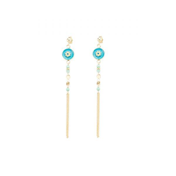 Boucles d'oreille Tara bleues, bijoux fantaisie, bijoux de créateur, made in France