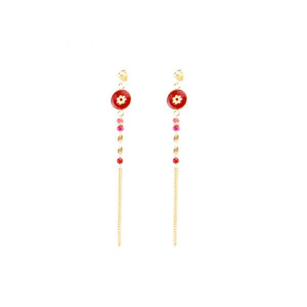 Boucles d'oreille Tara rouges, bijoux fantaisie, bijoux de créateur, made in France
